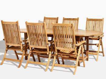 Anine Sara trädgårdsset i teak. Hos scanteak finns endast möbler tillverkade i kärnteak utan tillsatta kemikalier, vi planterar ett nytt teakträd / såld produkt.